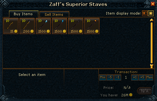 Zaffs staff shop