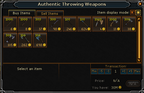 Throwing Weapons Shop