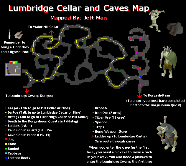 Lumbridge Cellar Caves Map