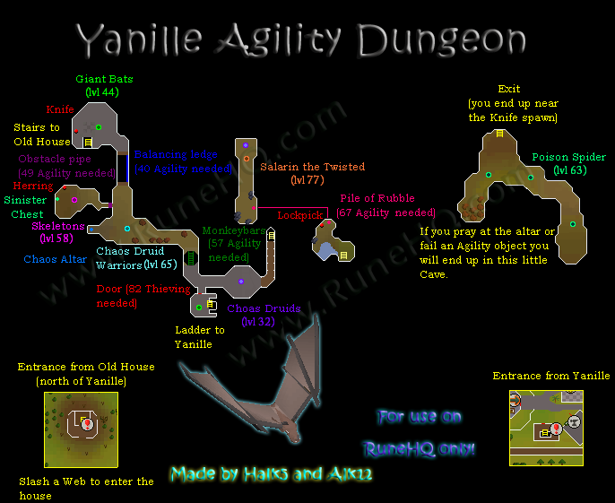 Yanille Agility Dungeon Map Runescape Guide Runehq