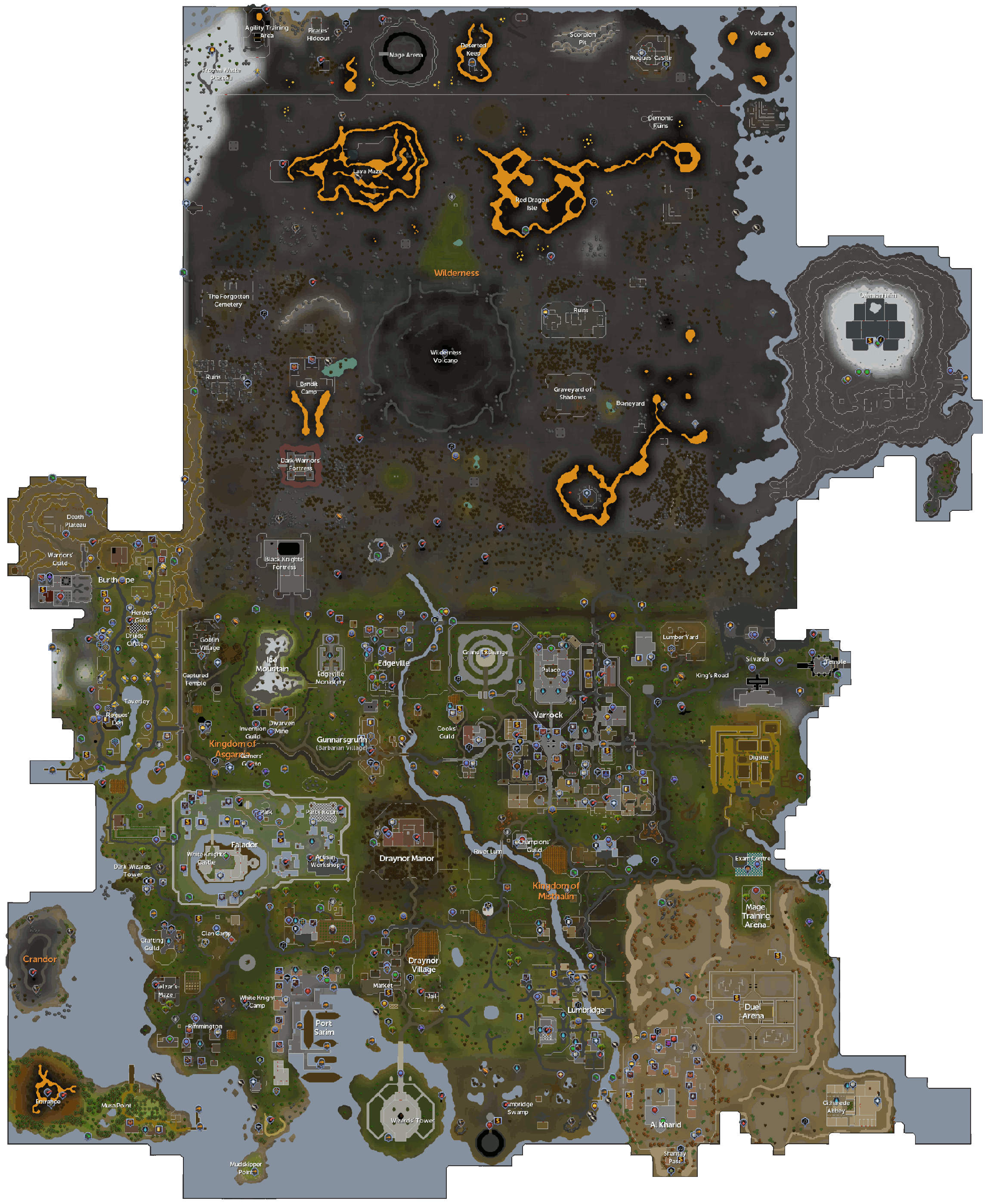 Old Runescape World Map. Rs 2007 Map, Oldschool Runescape ...