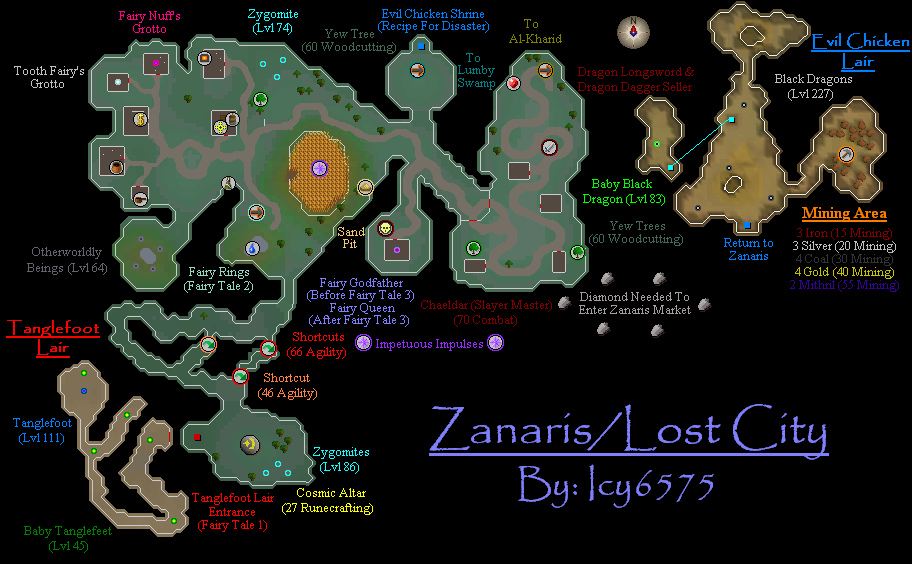 Zanaris/Lost City Map - RuneScape Guide - RuneHQ on