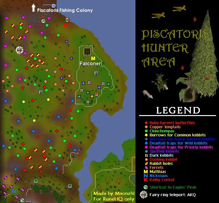 Piscatoris Hunter Area Map - RuneScape Guide - RuneHQ