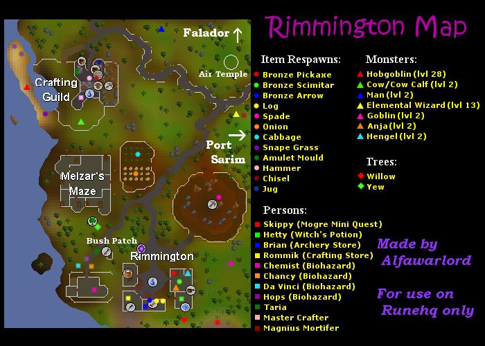 Rimmington Map   RuneScape Guide   RuneHQ