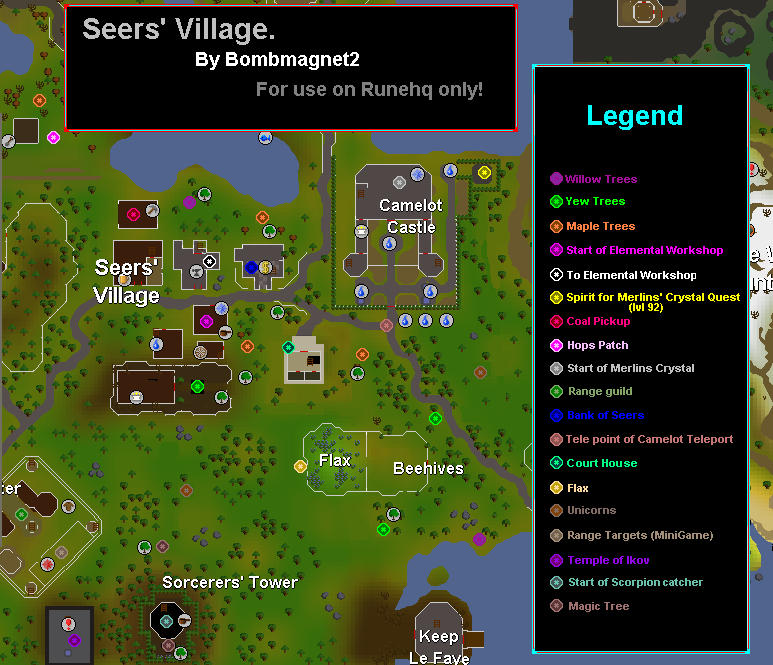 Seers\' Village Map - RuneScape Guide - RuneHQ