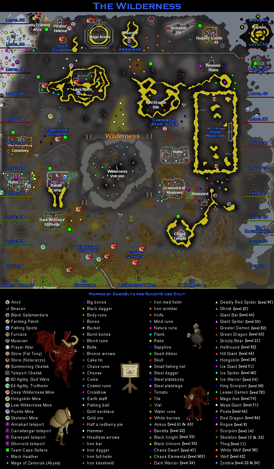 Wilderness Map - RuneScape Guide - RuneHQ