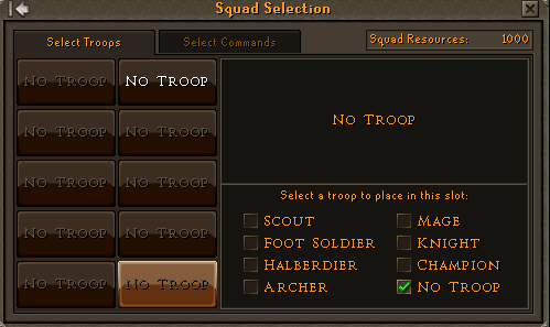 Selecting your squad