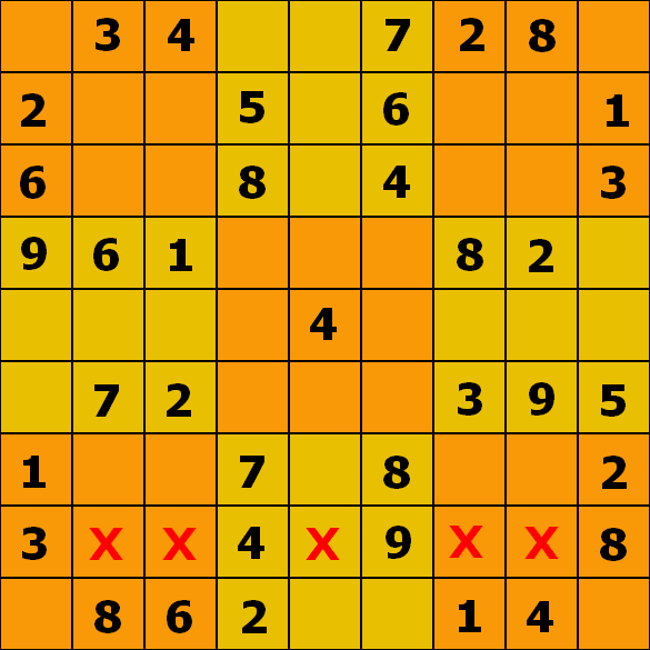 Numbered grid row