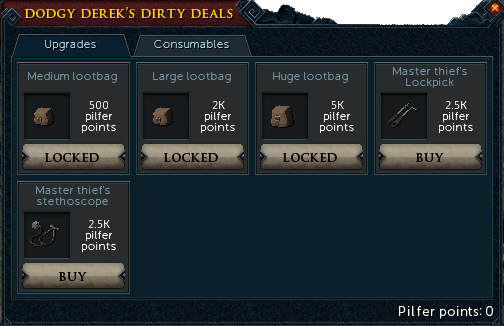 Dodgy Derek's Dirty Deals Upgrades