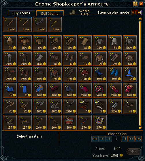 Gnome shopkeeper's Armoury