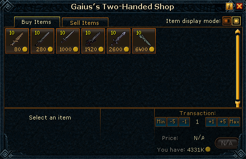 Gaius's Two-Handed Shop