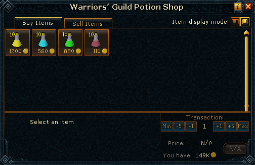 Warrior's Guild Potion Shop