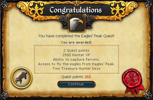 Eagles Peak Runescape Guide Runehq Eagles' peak is a quest based on the hunter skill, where the player helps the ardougne zoo procure a ferret as a new attraction. eagles peak runescape guide runehq