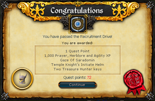Recruitment Drive Quest Complete