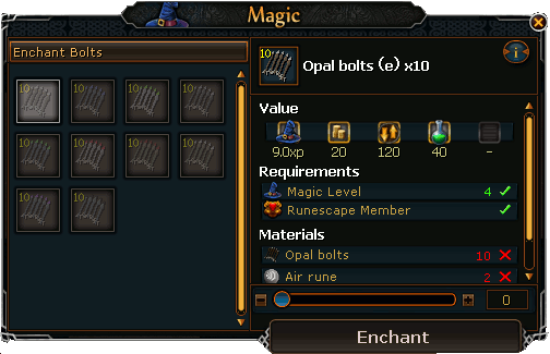 Enchanting Bolts Interface