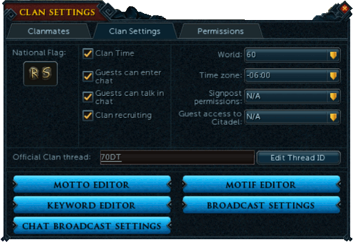 Clan Chat Settings