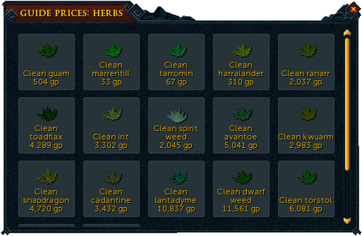 Herb prices