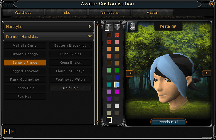 Hairstyle Customization screen