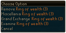 Ring of wealth menu