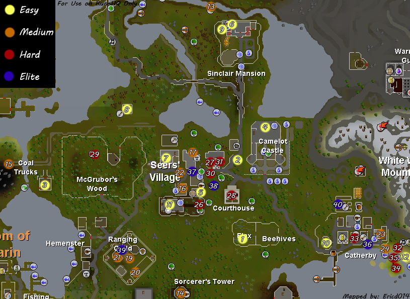 Seers' Village Achievement Diary Map